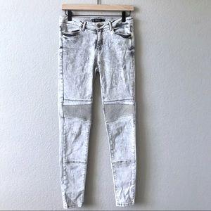 ZARA TRAFALUC DENIM Acid Wash Moto Skinny Jeans 6